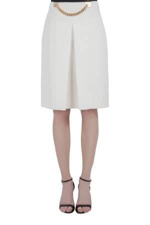 تنورة سوفي هولم مزين سلسلة طيات أمامية غباردين مرن عاجي M