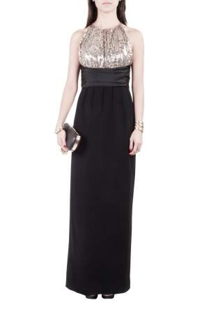 Mikael Aghal Black Crepe and Gold Sequin Embellished Gown S