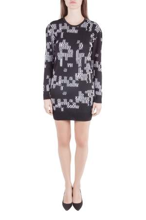 Josh Goot Monochrome Pixel Intarsia Knit Glitch Sweater Dress XS