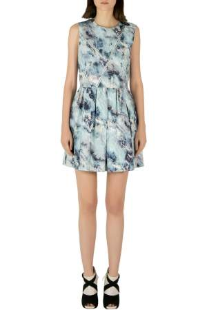 MSGM Blue Abstract Printed Cotton Canvas Zip Accent Detail Dress M