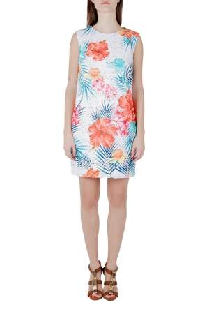 MSGM Multicolor Tropical Floral Embroidered Organza Shift Dress M