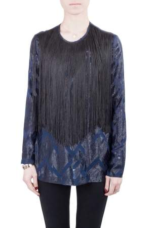Yigal Azrouel Navy Blue Chevron Pattern Silk Fringe Detail Blouse S
