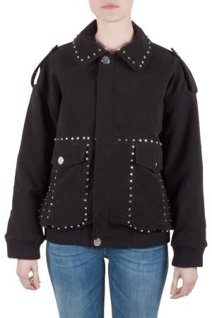Faith Connexion Black Suede Studded Oversized Bomber Jacket M