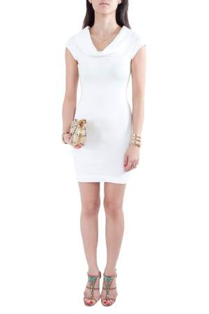 L'agence White Cotton Blend Draped Shawl Neck Bodycon Dress XS