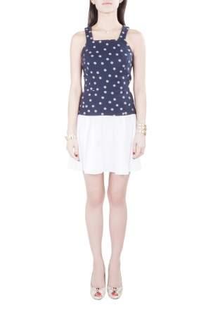 Thakoon Addition Navy Blue and White Polka Dot Cotton Sleeveless Flared Dress XS