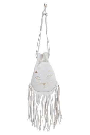 Charlotte Olympia Off White Leather Kitty Pochette