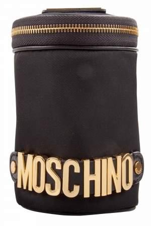 حقيبة كلاتش موسكينو مستديرة مزخرفة شعار نايلون سوداء