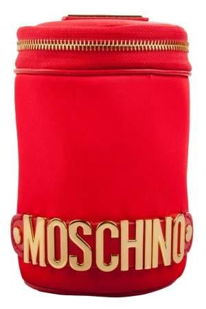 حقيبة كلاتش موسكينو مستديرة مزخرفة شعار نايلون حمراء