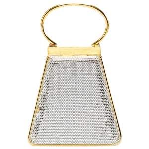 Judith Leiber Gold Swarovski Crystal Minaudiere Clutch