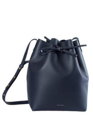 Mansur Gavriel Navy Blue Leather Bucket Bag