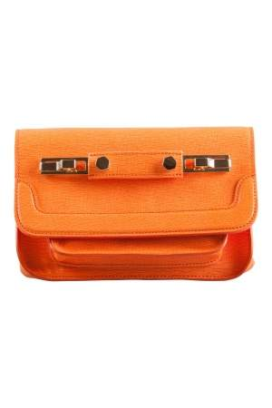 MSGM Bright Orange Textured Leather Chain Shoulder Bag