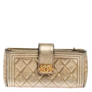 Chanel Metallic Gold Quilted Leather Boy Phone Pouch