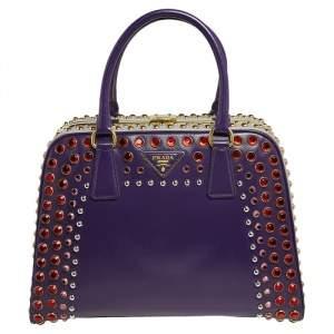 Prada Purple/Grey Saffiano Vernice Leather Pyramid Frame Crystals Satchel