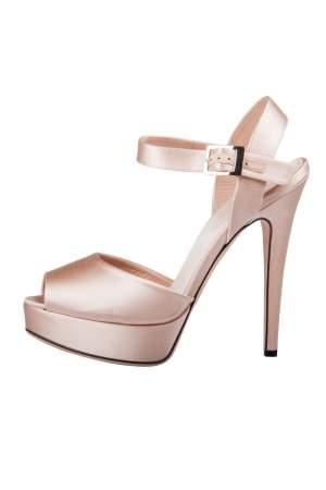 Giambattista Valli Beige Satin kirna Peep Toe Ankle Strap Platform Sandals Size 38