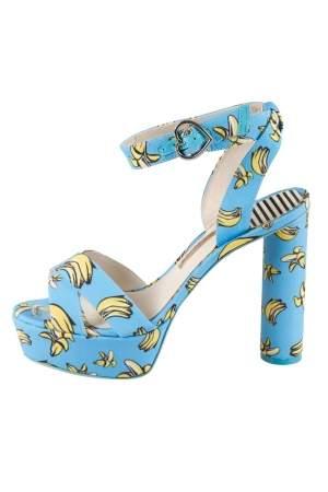 Sophia Webster Blue Banana Printed Fabric Amanda Ankle Strap Platform Sandals Size 37.5