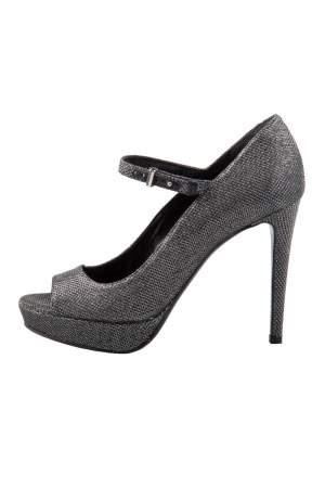 Roberto Cavalli Metallic Silver/Black Glitter Peep Toe Platform Pumps Size 36.5