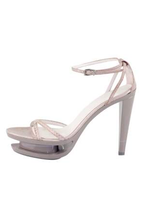 Jil Sander Grey Leather Ankle Strap Sandals Size 35