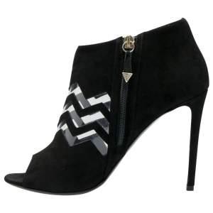 Nicholas Kirkwood Black Suede And PVC Chevron Peep Toe Ankle Booties Size 38.5