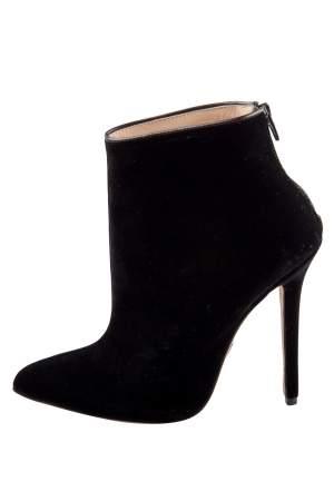 Olcay Gulsen Black Velvet Pointed Toe Ankle Boots Size 37