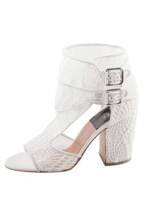 Laurence Dacade White Lace And Suede Rush Macrame Cut Out Open Toe Booties Size 37