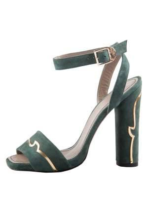 Versace Dark Green And Gold Suede Ankle Strap Sandals Size 37