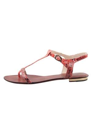 Alexandre Birman Red Python Leather T Strap Flat Sandals Size 38.5