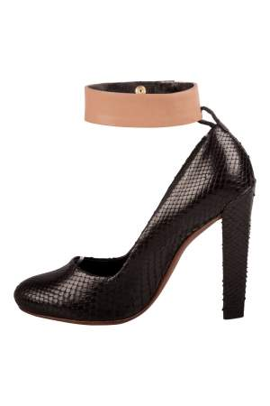 Celine Black Python Leather Ankle Cuff Pumps Size 36.5