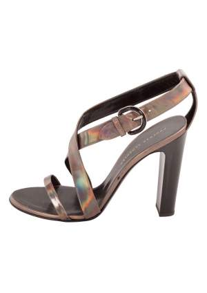 Proenza Schouler Metallic Patent Leather Iridescent Strappy Sandals Size 37.5