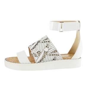 Nicholas Kirkwood White Laser-Cut Leather Peter Pilotto Ankle Strap Flat Sandals Size 37.5