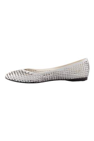 Jil Sander White Perforated Leather Ballet Flats Size 36.5