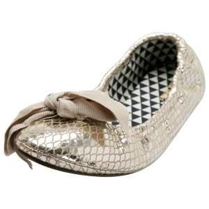 Isabel Marant Metallic Gold Foil Suede Rilla Bow Scrunch Ballet Flats Size 37