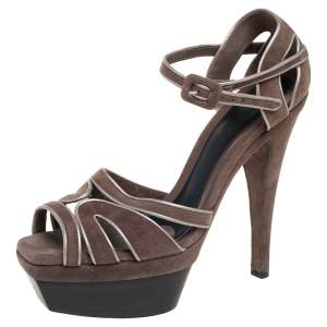 Marni Brown Suede Platform Sandals Size 39