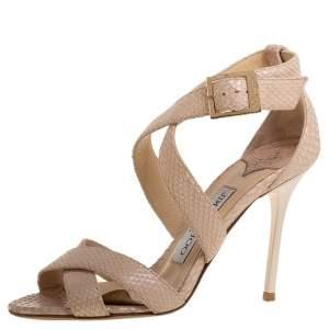 Jimmy Choo Beige Snakeskin Embossed Leather Lottie Crisscross Sandals Size 34.5