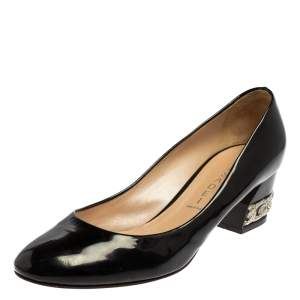 Casadei Black Patent Leather Block Heel  Pumps Size 39