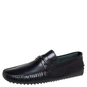 Tod's Black Leather Double T Penny Loafers Size 47