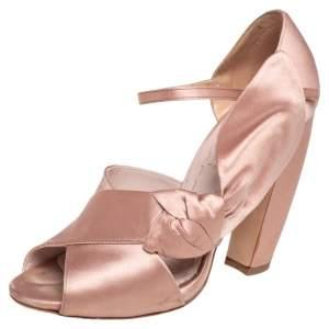 Miu Miu Beige Satin Bow Detail Ankle Strap Block Heel Pumps Size 36