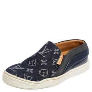 Louis Vuitton Denim Monogram Tempo Slip On Sneakers Size 34