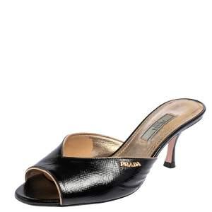 Prada Black Saffiano Patent Leather Mule Sandals Size 37.5