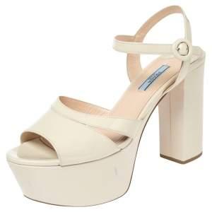 Prada Cream Patent Leather Platform Sandals Size 39.5