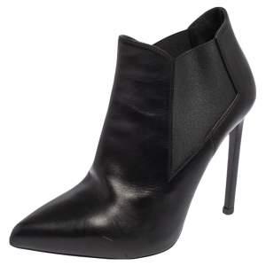 Saint Laurent Black Leather  Chelsea Stretch Ankle Boots Size 36