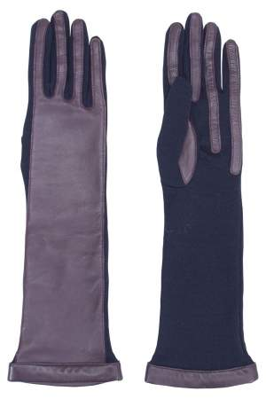 Lanvin Burgundy/Navy Leather Wool Long Gloves