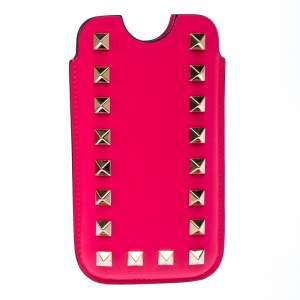 Valentino Neon Pink Leather Rockstud iPhone 5/5S Case