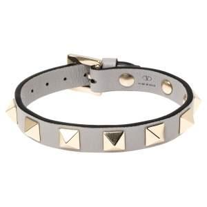 Valentino Pastel Grey Leather Rockstud Bracelet