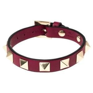 Valentino Raspberry Pink Leather Rockstud Bracelet