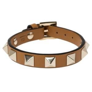 Valentino Tan Leather Rockstud Bracelet