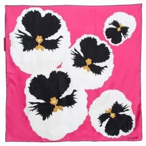 Valentino Pink Floral Print Silk Scarf