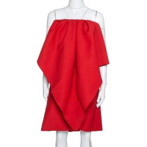 Valentino Red Wool Cady Off Shoulder Very Valentino Dress M