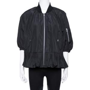 RED Valentino Black Taffeta Pleated Flounce Zip Up Jacket Size M
