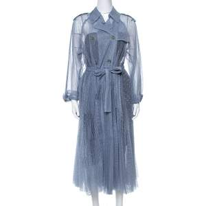 RED Valentino Powder Blue Point D'Esprit Tulle Trench Coat S