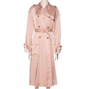 RED Valentino Blush Fluid Satin Double Breasted Trench Coat M